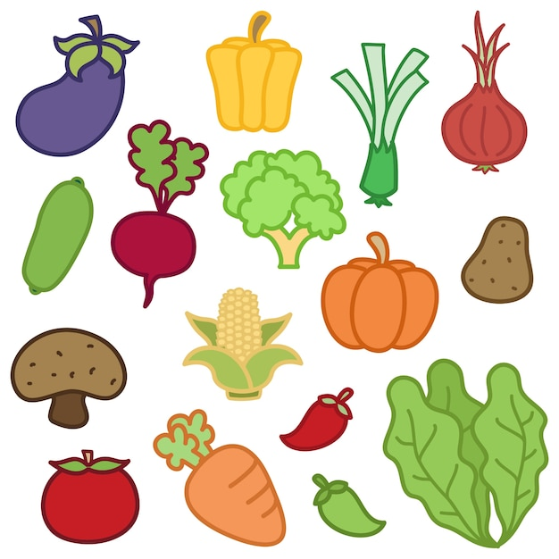 Vegetables illustrations Free Vector