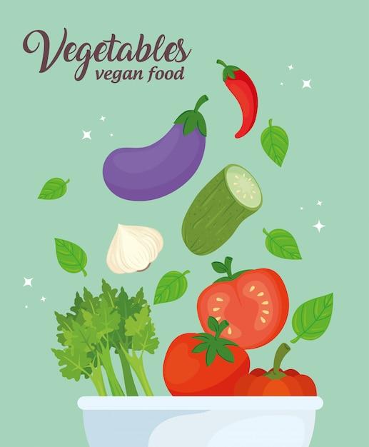 ボウルに野菜、概念健康食品ベクトルイラストデザイン Premiumベクター