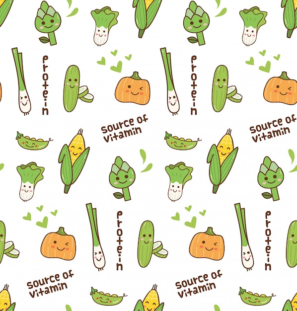 野菜かわいいパターン Premiumベクター