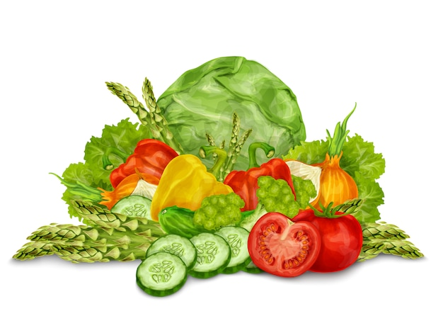 Vegetables mix on white Free Vector