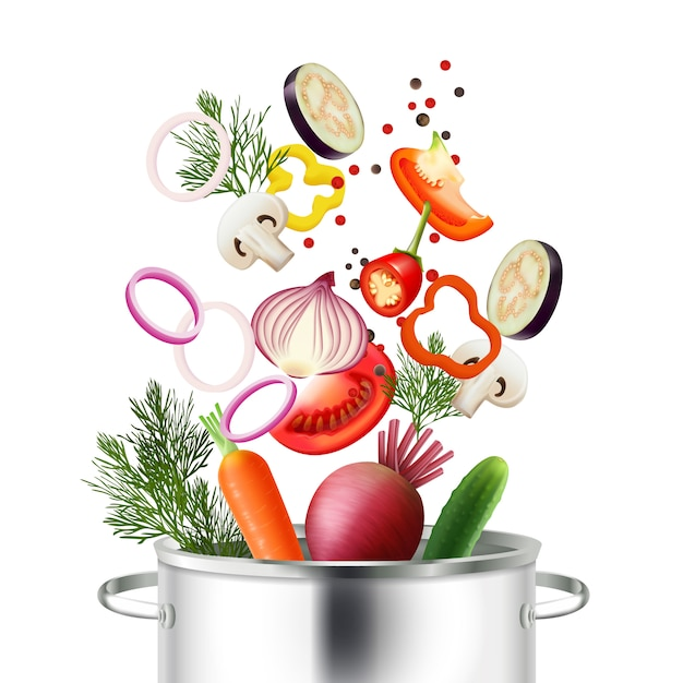 Vegetables and pot realistic concept with ingredients and cooking symbols vector illustration Free Vector