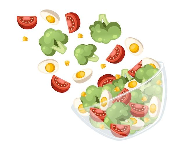 Рецепт салата из овощей. салат опускаем в прозрачную миску. свежие овощи мультфильм дизайн еды. плоский рисунок, изолированные на белом фоне Premium векторы