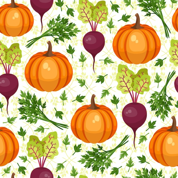 Vegetables seamless pattern. beet and pumpkin. illustration, vector. beautiful background for thanksgiving Free Vector