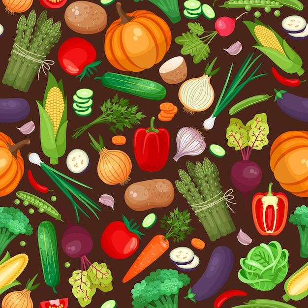 Бесшовный узор из овощей. тыква, свекла, картофель и перец. Бесплатные векторы