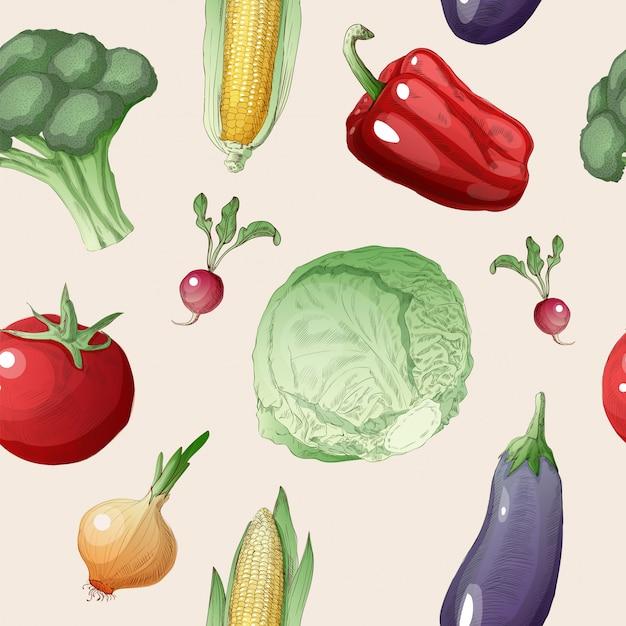 Vegetables seamless pattern Premium Vector