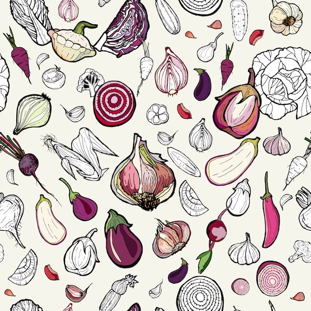 Vegetables seamless pink hand drawn pattern. vegetarian hipster illustration. hand drawn vector pattern of colored vegetables. Premium Vector