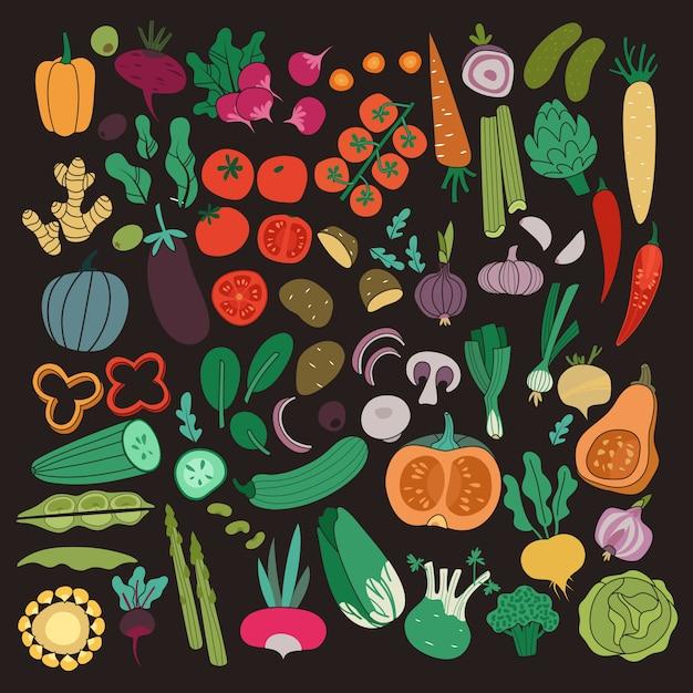 Овощи цвет морковь лук огурец томатный картофель баклажан. веганские здоровой пищи органические продукты питания овощ на темном фоне коллекции Premium векторы