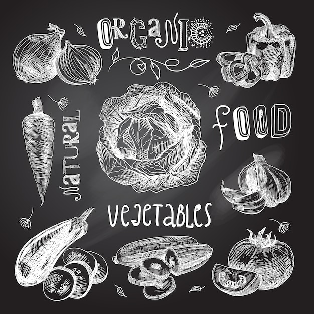 Vegetables sketch set chalkboard Free Vector