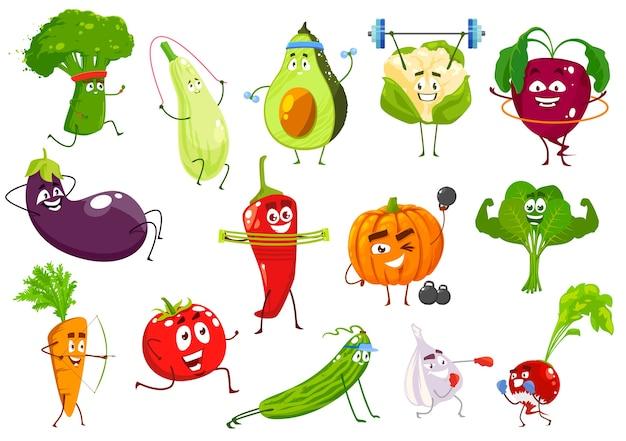 야채 운동가, 브로콜리, 스쿼시 및 아보카도, 콜리 플라워 및 비트 뿌리. 가지, 칠리 페터, 호박, 시금치, 당근, 토마토와 오이, 마늘, 무 야채 프리미엄 벡터
