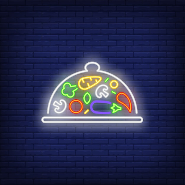 Vegetables on tray under lid neon sign Free Vector