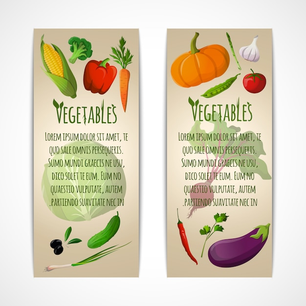 Vegetables vertical banners template Free Vector