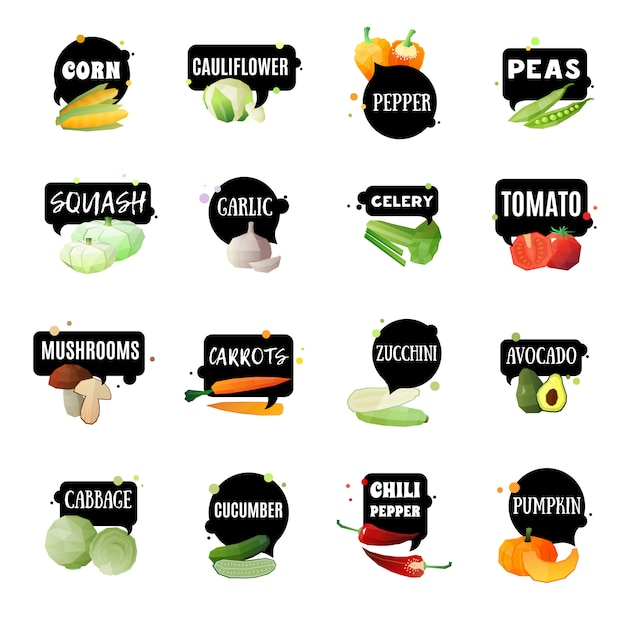 Vegetables with labels set Free Vector