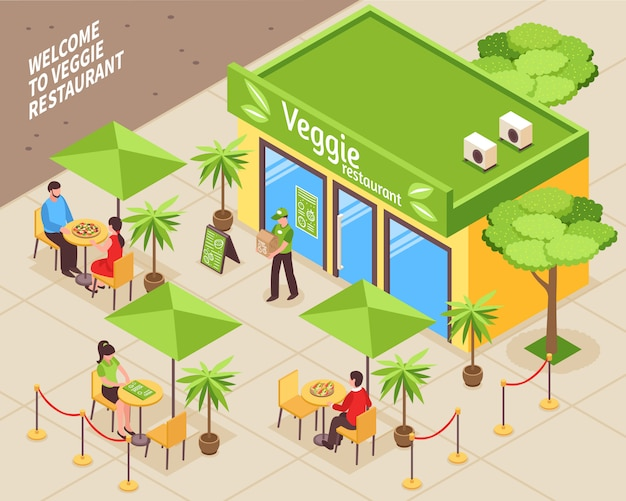 Vegetarian cafe outdoor isometric illustration Free Vector