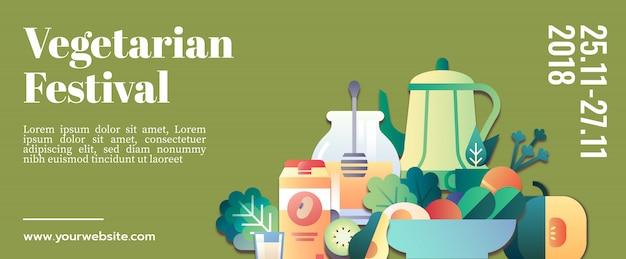 Vegetarian festival banner template mockup Premium Vector