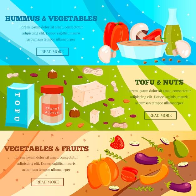 Vegetarian food banner set Free Vector