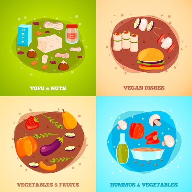 Vegetarian food illustrations Free Vector