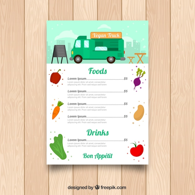 Vegetarian food truck menu