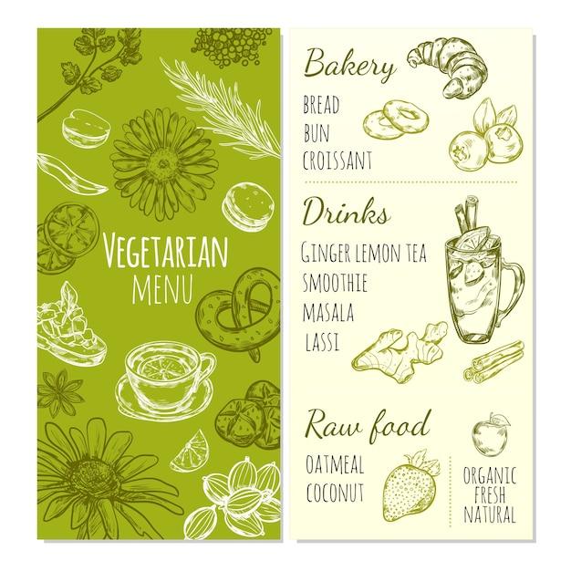 Шаблон эскиза вегетарианского меню с натуральными продуктами, здоровыми напитками и свежими органическими фруктами Бесплатные векторы
