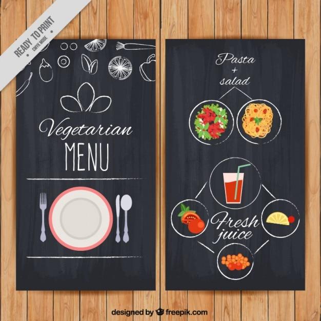 Vegetarian Menu With Drawings In Blackboard Effect Vector