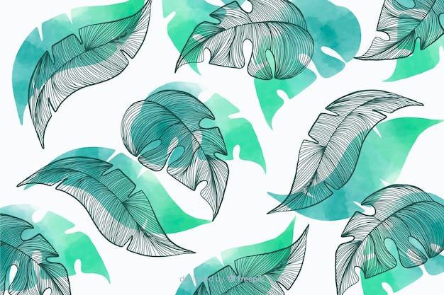 Sfondo di vegetazione con foglie disegnate a mano Vettore gratuito