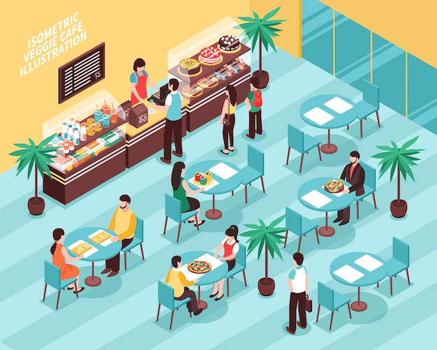 Veggie cafe isometric illustration Free Vector