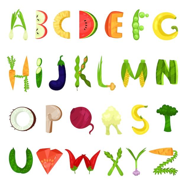 Veggie english alphabet letters made from fresh vegetables  illustration on a white background Premium Vector