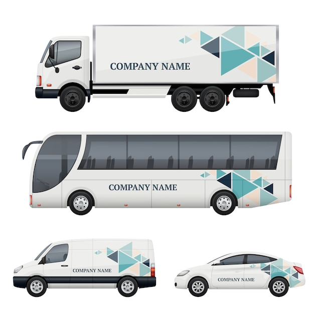 Vehicle branding. transportation advertizing bus truck van car realistic  mockup Premium Vector