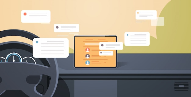 Vehicle cockpit with smart driving assistance social network communication chatting messaging chat app on automobile computer board screen modern car interior Premium Vector
