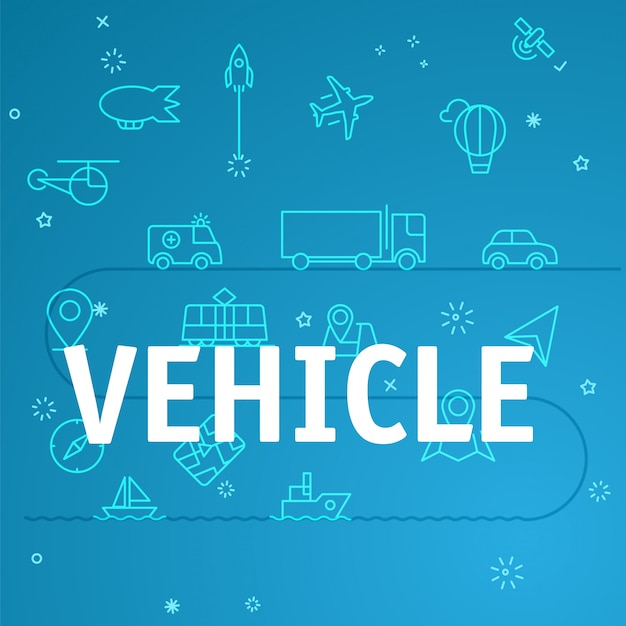 Vehicle concept. different thin line icons included Premium Vector
