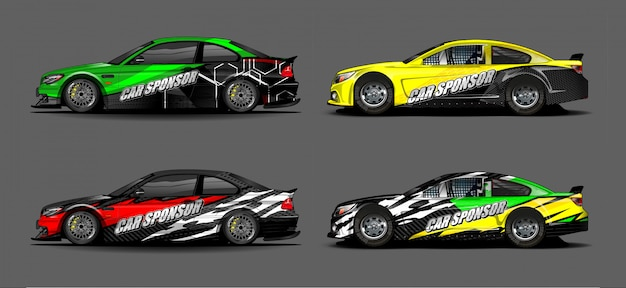 Автомобиль графический комплект вектор. современный абстрактный фон для автомобильной брендинга и автомобильных наклеек. Premium векторы