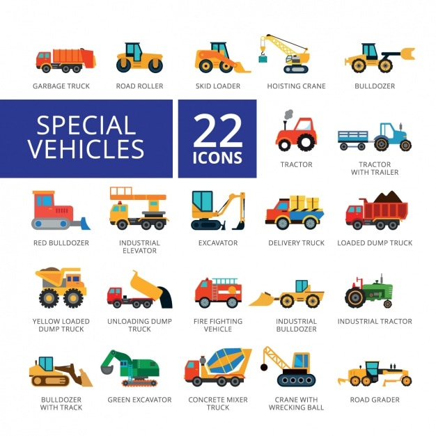 Vehicle icons collection Free Vector
