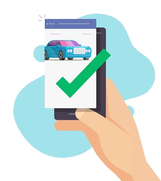 Автомобиль проверен на мобильный телефон Premium векторы