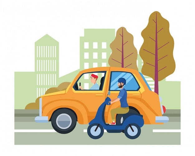 Vehicle and motorcycle with drivers riding Premium Vector