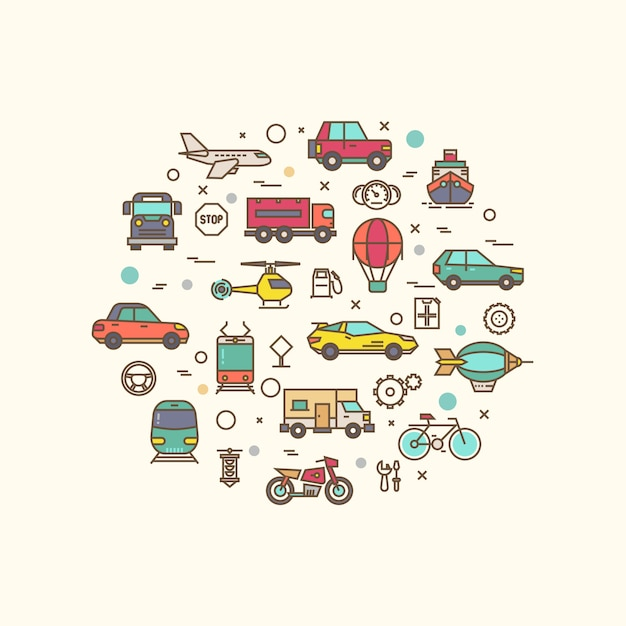 Vehicle and transport icons in circle design. transportation   with thin line style icon Premium Vector