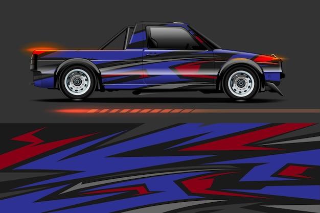 Дизайн автомобильной виниловой пленки с абстрактным фоном полосы гоночной полосы Premium векторы
