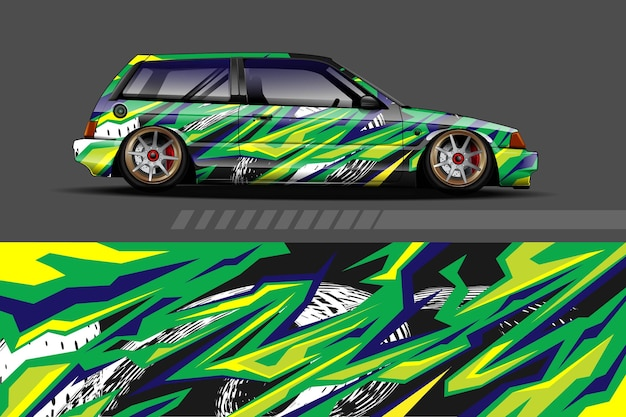 Автомобильная упаковка и дизайн виниловой наклейки с гоночным абстрактным фоном Premium векторы