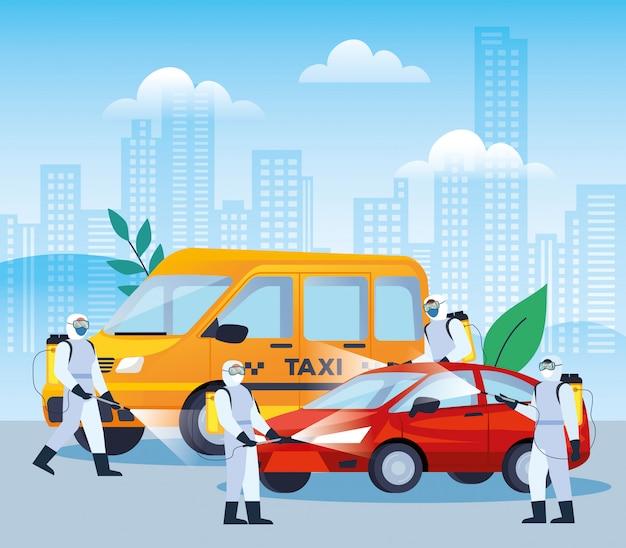 Услуги по дезинфекции транспортных средств для дизайна иллюстрации болезни 19 Premium векторы