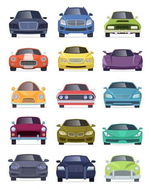 車両正面図。輸送自動車タクシーバストラック漫画車ベクトルコレクション Premiumベクター