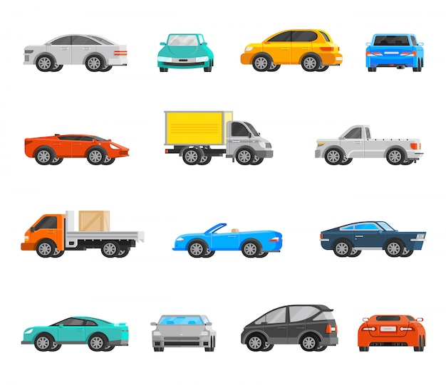 Vehicles icons set Free Vector