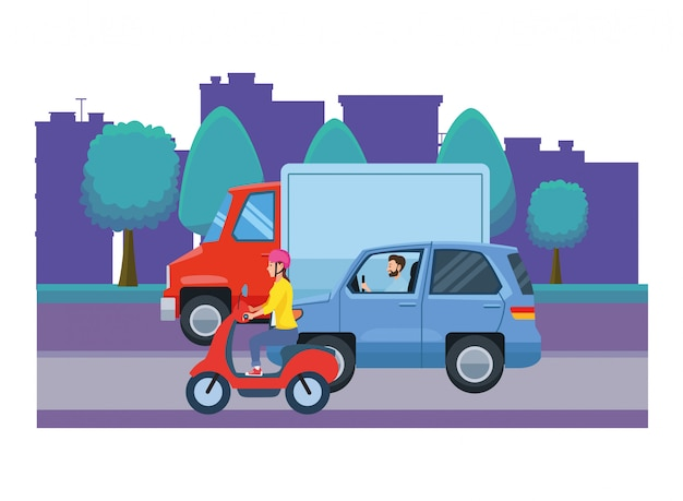 Vehicles and motorcycle with drivers riding Premium Vector