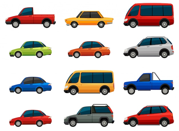 Vehicles set Free Vector