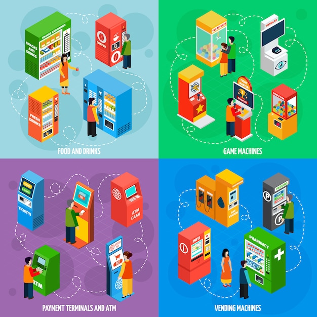Vending games machines isometric icons square Free Vector