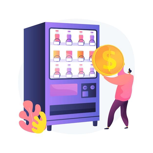 Торговый автомат абстрактная концепция иллюстрации. торговый бизнес, автомат самообслуживания, закуски и напитки, малый бизнес, кофе на вынос, общественные места, торговля Бесплатные векторы