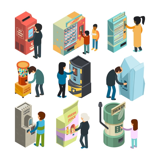 Vending machine isometric. snack sandwich ice cream coffee water automatic shop people buying fast food and drinks  3d pictures Premium Vector