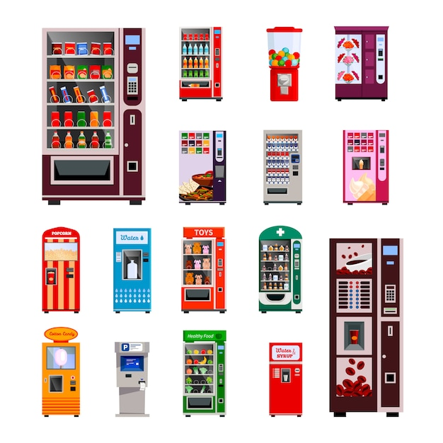 Vending machines icons set with toys water and coffee machines Free Vector