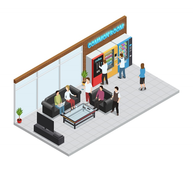 Vending  machines isometric composition with coffee and snacks machines Free Vector