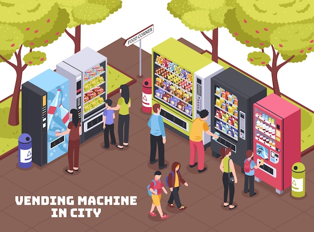 Vending machines isometric composition Free Vector