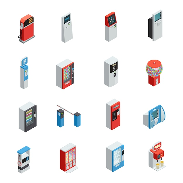 Vending machines isometric icons set with food and parking machines Free Vector