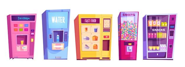 스낵, 패스트 푸드, 물, 아이스크림, 과자 자판기. 판매 음식, 사탕 및 음료 흰색 배경에 고립 된 자동 공급 업체 기계의 만화 세트 무료 벡터