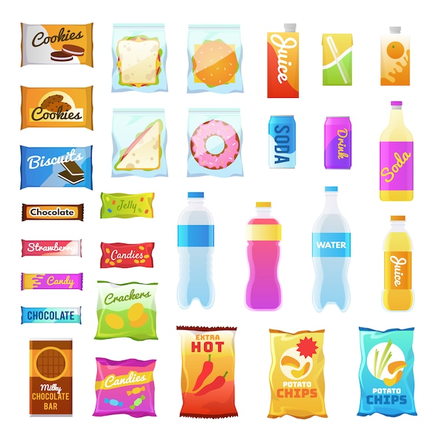 Vending products. beverages and snack plastic package, fast food snack packs, biscuit sandwich. drinks water juic Premium Vector